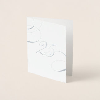 Silver 25 Calligraphy Silver Wedding Anniversary Foil Card