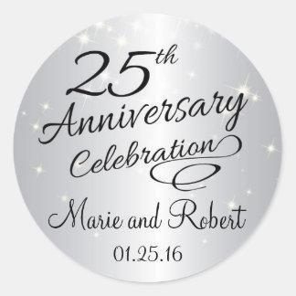 Silver 25th Anniversary Sparkly Wedding Classic Round Sticker