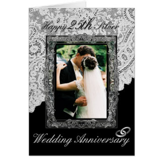 Silver 25th Wedding Anniversary Elegant Card