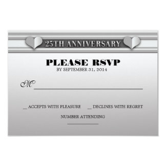 silver 25th wedding anniversary RSVP cards