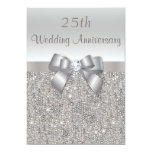 Silver 25th Wedding Anniversary Sequins and Bow Invite