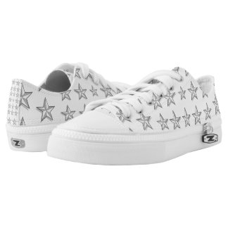 Silver 3-D Stars Printed Shoes