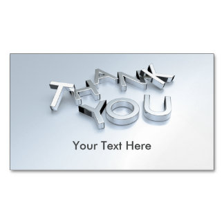 Silver 3D Thank You Custom Magnetic Cards Pack 25 Magnetic Business Cards