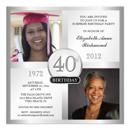 Silver 40th Birthday Invitations Then & Now Photos