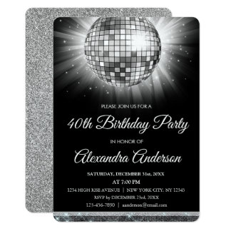 Silver 40th Birthday Party Disco Ball Card