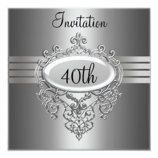 Silver 40th Birthday Party Invitation any Occasion