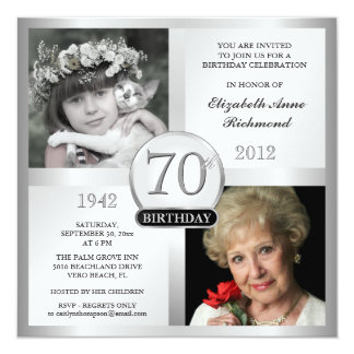 "Silver 70th Birthday Invitations Then & Now Photos 5.25"" Square Invitation Card"