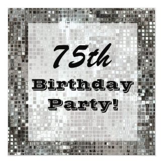 Silver 75th Or Any Age Birthday Party Invitation