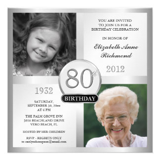Silver 80th Birthday Invitations Then Now Photos