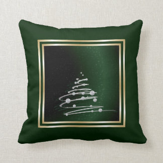 Silver Abstract Christmas Tree On Green Cushions