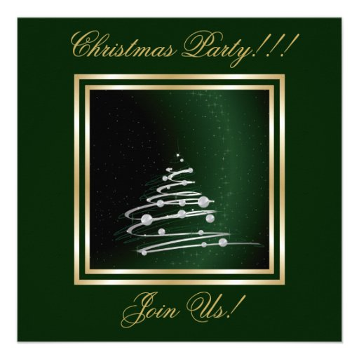 Silver Abstract Christmas Tree On Green Invite