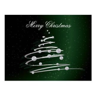 Silver Abstract Christmas Tree On Green. Postcard