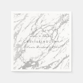 Silver Abstract White Gray Stone VIP Marble Party Disposable Napkin