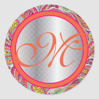 Silver Accents Peacock Paisley Tangerine Hot Pink Round Sticker