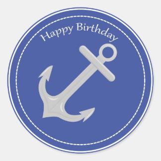 Silver Anchor Nautical Happy Birthday Sticker