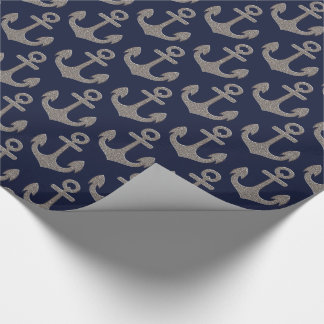 Silver Anchor on Navy Blue Background Wrapping Paper