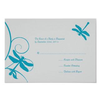 Silver and Aqua Blue Dragonfly Wedding RSVP Custom Invites
