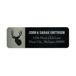 Silver and Black Antlered Deer Return Address Return Address Label