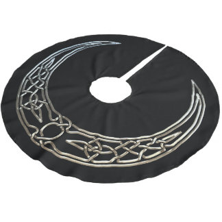 Silver And Black Celtic Crescent Moon Brushed Polyester Tree Skirt