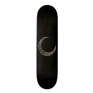 Silver And Black Celtic Crescent Moon Custom Skate Board