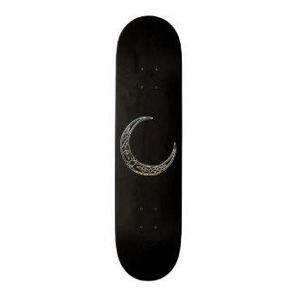 Silver And Black Celtic Crescent Moon Skateboards