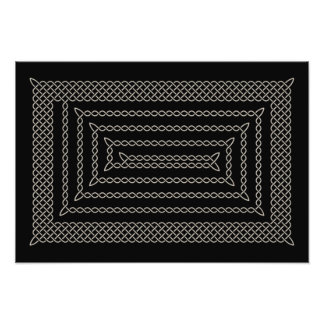 Silver And Black Celtic Rectangular Spiral Photo Print