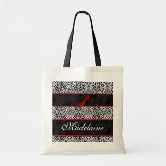 Silver and Black Cheeta with Red Custom Budget Tote Bag