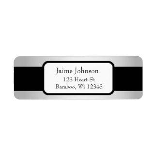 Silver and Black Classy  Return Address Sticker