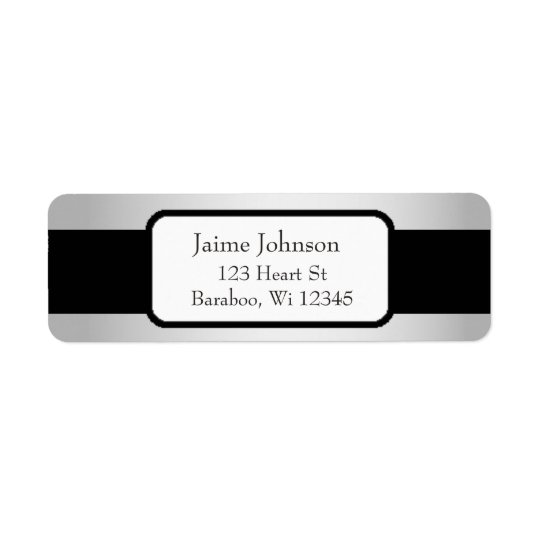Silver and Black Classy  Return Address Sticker Return Address Label