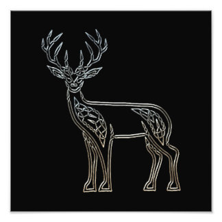 Silver And Black Deer Celtic Style Knot Photo Print