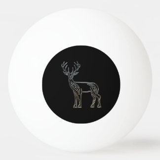 Silver And Black Deer Celtic Style Knot Ping Pong Ball