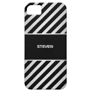 silver and black diagonal stripes with name barely there iPhone 5 case