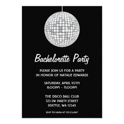 Silver and Black Disco Ball Bachelorette Party Invitation