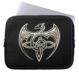 Silver And Black Dragon Trine Celtic Knots Art Computer Sleeve
