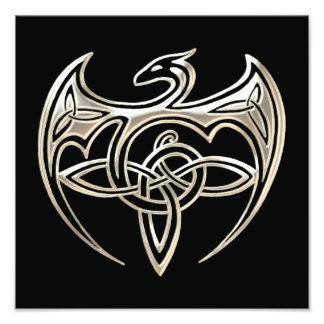 Silver And Black Dragon Trine Celtic Knots Art Art Photo