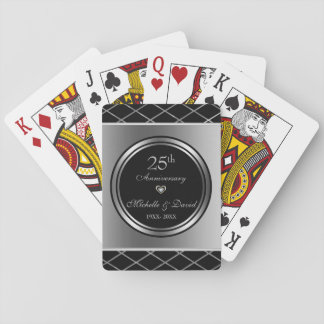 Silver And Black Geometric Shapes- Anniversary Playing Cards