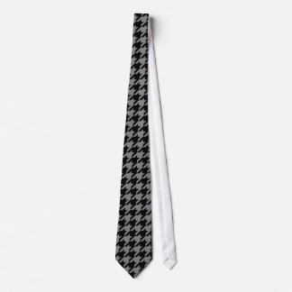 Silver and Black Houndstooth Tie