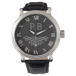 Silver and Black Monogram Men's Watch