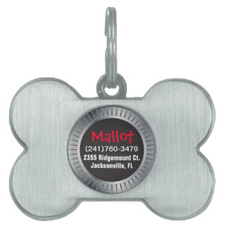 Silver and Black Pet ID Tag