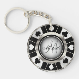 Silver and Black Poker Chip Design - Monogram Double-Sided Round Acrylic Key Ring
