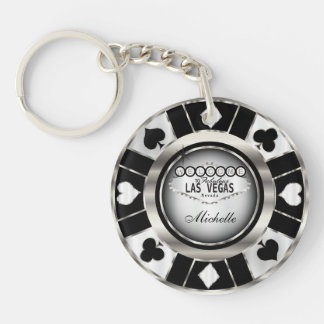 Silver and Black Poker Chip Design - Personalize Double-Sided Round Acrylic Key Ring