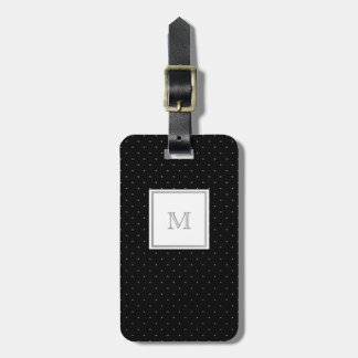 Silver and Black Polka Dot Luggage Tag