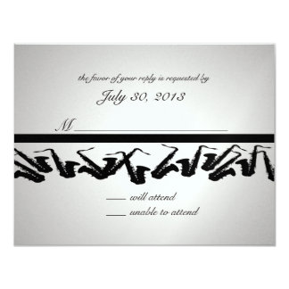 Silver and Black Saxophone Response Card