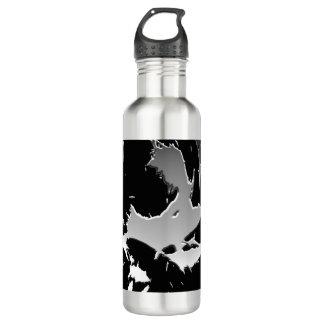 Silver and Black Shatter Design Water Bottle