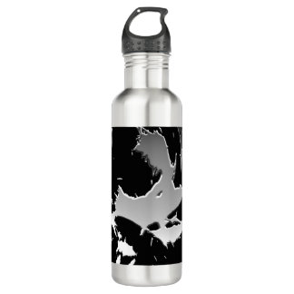 Silver and Black Shatter Design Water Bottle 710 Ml Water Bottle