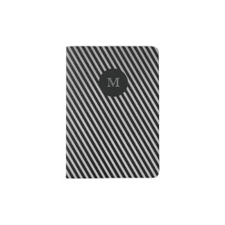 Silver and black striped Passport Holder