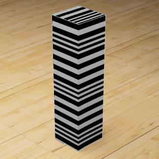 Silver and Black Stripes X 3 Wine Box