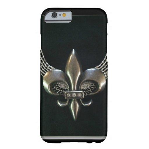 SILVER AND BLACK WINGED FLEUR-DE-LIS iPhone 6 CASE