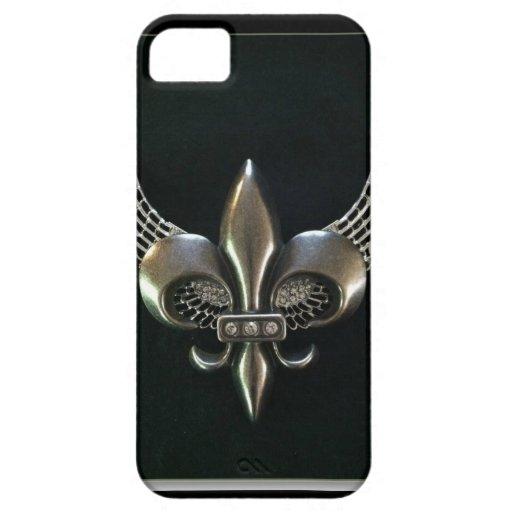 SILVER AND BLACK WINGED FLEUR-DE-LIS iPhone 5 CASE
