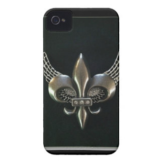SILVER AND BLACK WINGED FLEUR-DE-LIS iPhone 4 COVERS